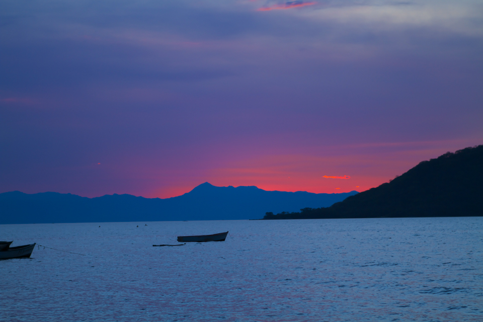 Pink sunset across Lake Malawi.