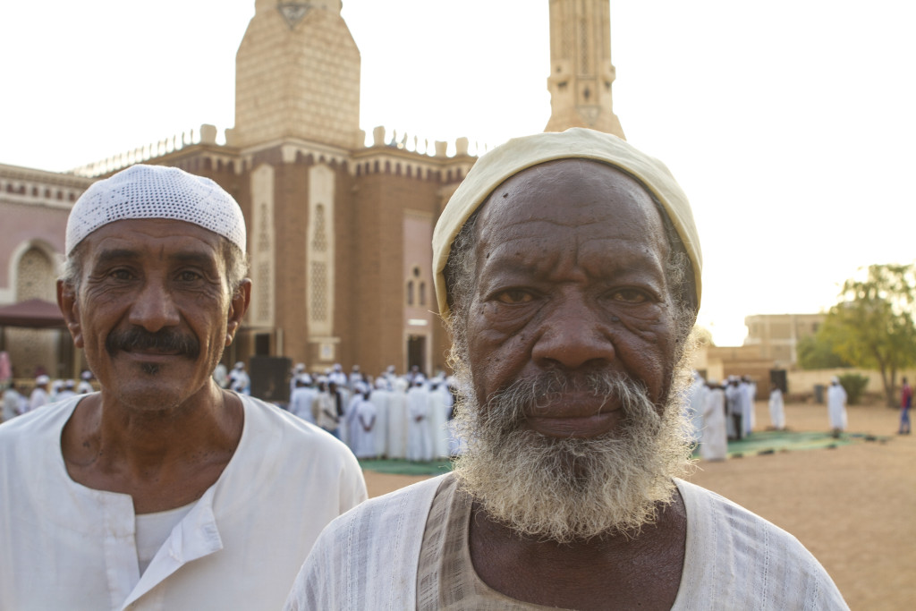 Outside the mosque in Khartoum.