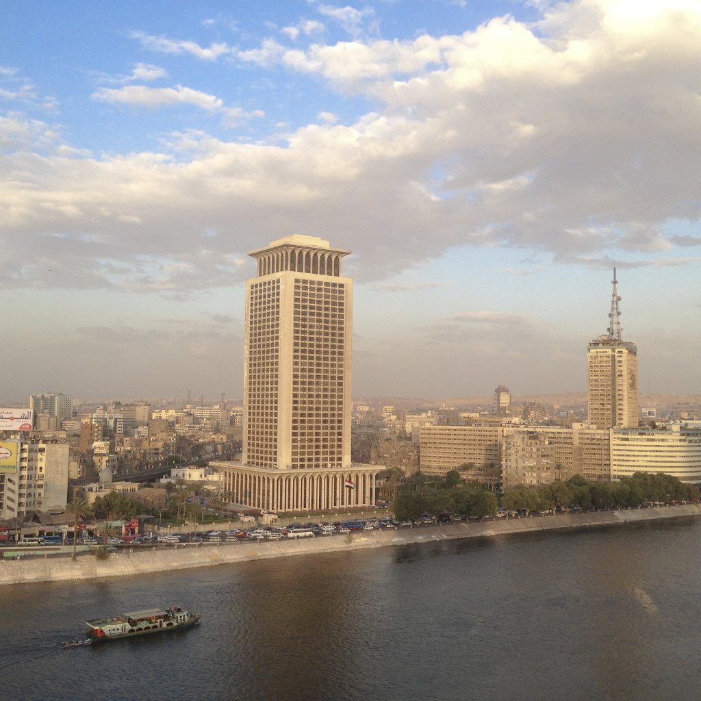 View from the Executive Lounge at the Marriott Hotel in Cairo.